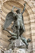 Joseph And The Angel Posters - Saint Michel striking down the dragon II Poster by Fabrizio Ruggeri