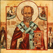 Byzantine Icon Framed Prints - Saint Nicholas Framed Print by Granger