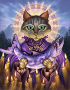 Fantasy Cats Paintings - Saint of Salmons by Jeff Haynie