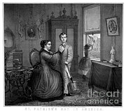 Domestic Scene Metal Prints - Saint Patricks Day In America, 1872 Metal Print by Photo Researchers