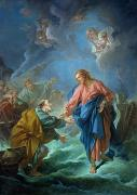 Crossing Painting Framed Prints - Saint Peter Invited to Walk on the Water Framed Print by Francois Boucher