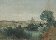 Horizon Painting Framed Prints - Saint Peters seen from the Campagna Framed Print by George Snr Inness