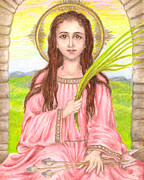 Iconography Pastels Posters - Saint Philomena Poster by Michelle Bien