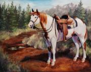 Pinto Paintings - Saint Quincy Paint Horse Portrait Painting by Kim Corpany