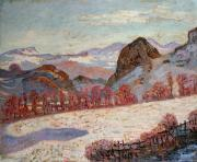 Snow Scenes Metal Prints - Saint Sauves dAuvergne Metal Print by Jean Baptiste Armand Guillaumin