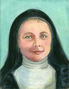 Catholic Art Painting Originals - Saint Therese of Lisieux by Susan  Clark