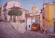 Portugal Art Paintings - Saint Tome Square Lisbon - Largo de S. Tome Lisboa by Carlos De Vasconcelos Tavares