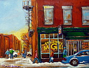 Store Fronts Painting Prints - Saint Viareur And Park Avenue Bagel Shop Print by Carole Spandau