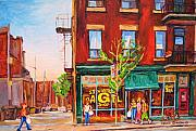 Montreal Citystreet Scenes Paintings - Saint Viateur Bagel by Carole Spandau
