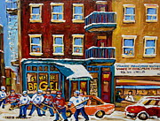 Quebec Streets Painting Posters - Saint Viateur Bagel With Hockey Poster by Carole Spandau