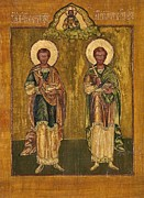Religion Paintings - Saints Cosmas and Damian by Camelia Apostol