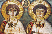Byzantine Icon Photo Posters - Saints Sergius And Bacchus Poster by Granger