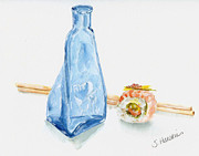Sake Bottle Painting Posters - Sake and Sushi Poster by Sheryl Heatherly Hawkins