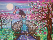 Smiling Mixed Media Prints - Sakura Dreams Print by Stephanie Temple