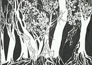 Sakura Drawings - Sakura Forest by Kesslers Tan