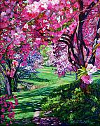 Cherry Blossoms Painting Framed Prints - Sakura Romance Framed Print by David Lloyd Glover