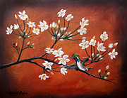 Sakura Paintings - Sakura y colibri by Angel Ortiz