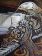 Pianos Paintings - Sal Maneri on Piano by Robert James Hacunda