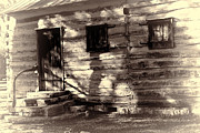Log Cabin Prints - Salado Log Cabin Back Door Print by Linda Phelps