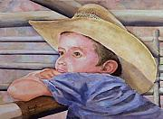 Cowboy Painting Originals - Sale Day by Sam Sidders