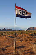 Scrub Brush Framed Prints - Sale Flag in the Desert Framed Print by Paul Edmondson