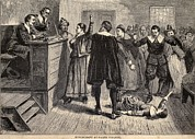 Witchcraft Framed Prints - Salem Witch Trials. A Women Protests Framed Print by Everett
