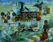 Treasures Paintings - Salers of treasures. by Anna  Duyunova