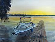 Caribbean Sea Paintings - Salinas Sunset by Tony Rodriguez