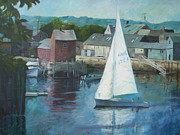 Sail Fish Prints - Saling In Rockport MA Print by Claire Gagnon