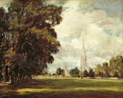 Gothic Painting Metal Prints - Salisbury Cathedral from Lower Marsh Close Metal Print by John Constable