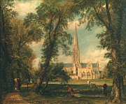 Belltower Posters - Salisbury Cathedral from the Bishops Grounds Poster by John Constable