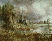 Gothic Painting Posters - Salisbury Cathedral From the Meadows Poster by John Constable