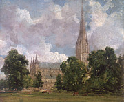 People Walking Prints - Salisbury Cathedral from the south west Print by John Constable