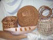 Baskets Sculpture Posters - Salish Weaving and Carving Poster by Mary Lou Slaughter