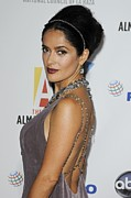 Hair Bun Photo Framed Prints - Salma Hayek At Arrivals For The Nclr Framed Print by Everett