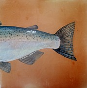 Fish Ceramics Metal Prints - Salmon 2 Metal Print by Andrew Drozdowicz