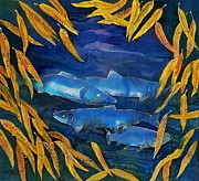 Animals Tapestries - Textiles - Salmon and Willow by Carolyn Doe