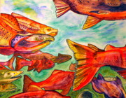 Spawning Mixed Media - Salmon  by Chris Crowley