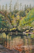 Washington Pastels - Salmon Fishing Along the Skokomish River by Terri Thompson
