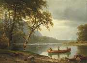 Landscape; Rural; Countryside; Canadian; Fishermen; Boat; Leisure; Calm; Peaceful; Kayak; Camp; Campfire; Fire; Kettle; Scenic; Riverbank Posters - Salmon fishing on the Caspapediac River Poster by Albert Bierstadt
