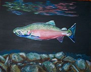Salmon Painting Posters - Salmon in River Poster by Bob  Orlin
