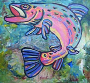 Salmon Paintings - Salmon by Krista Ouellette