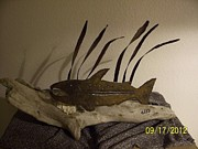 Landscapes Sculpture Originals - Salmon On Driftwood by JP Giarde