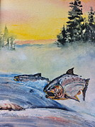 Salmon Paintings - Salmon Run by Gloria Avner