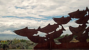Outdoor Metal Sculpture Art - Salmon Sculpture by Methune Hively
