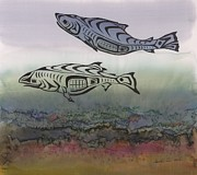 Science Fiction Tapestries - Textiles Metal Prints - Salmon Stream Metal Print by Carolyn Doe