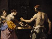 Martyrdom Prints - Salome Receiving the Head of St John the Baptist Print by Giovanni Francesco Barbieri