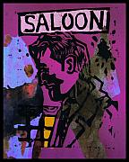Lino Print Mixed Media Framed Prints - Saloon 1 Framed Print by Adam Kissel