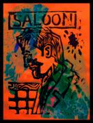 Lino Print Framed Prints - Saloon Framed Print by Adam Kissel