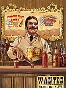 Western Mixed Media Posters - Saloon Keeper Poster by Valerian Ruppert